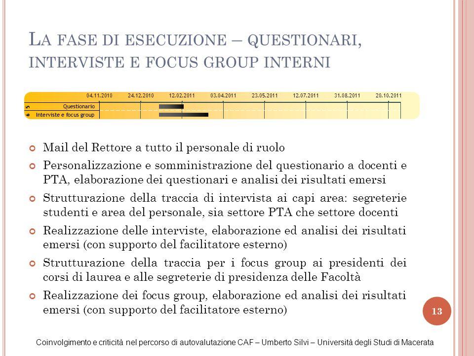 La fase di esecuzione – questionari, interviste e focus group interni