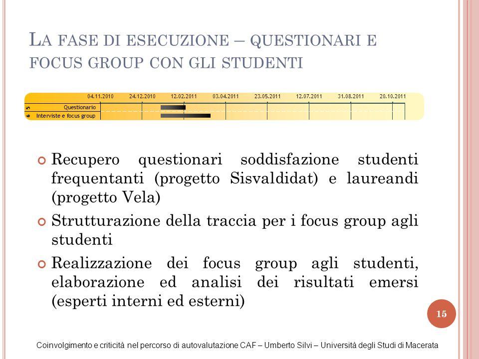 La fase di esecuzione – questionari e focus group con gli studenti