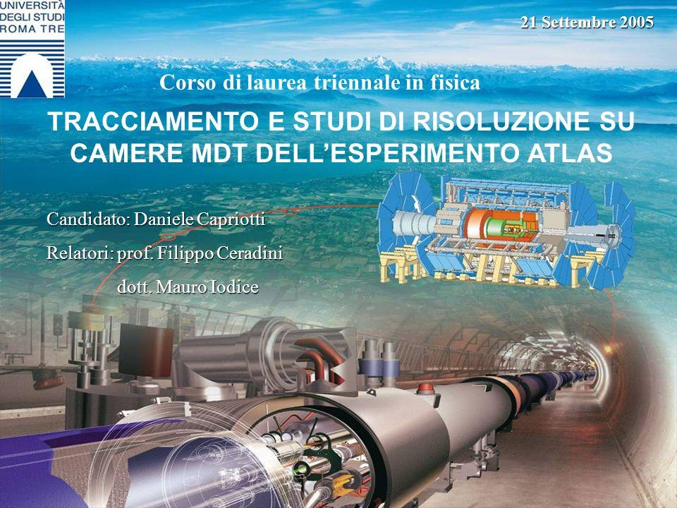 21 Settembre 2005 Corso di laurea triennale in fisica. TRACCIAMENTO E STUDI DI RISOLUZIONE SU CAMERE MDT DELL'ESPERIMENTO ATLAS.