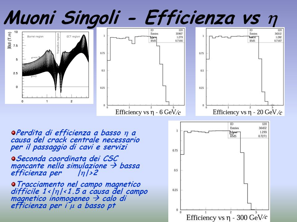 Muoni Singoli - Efficienza vs 