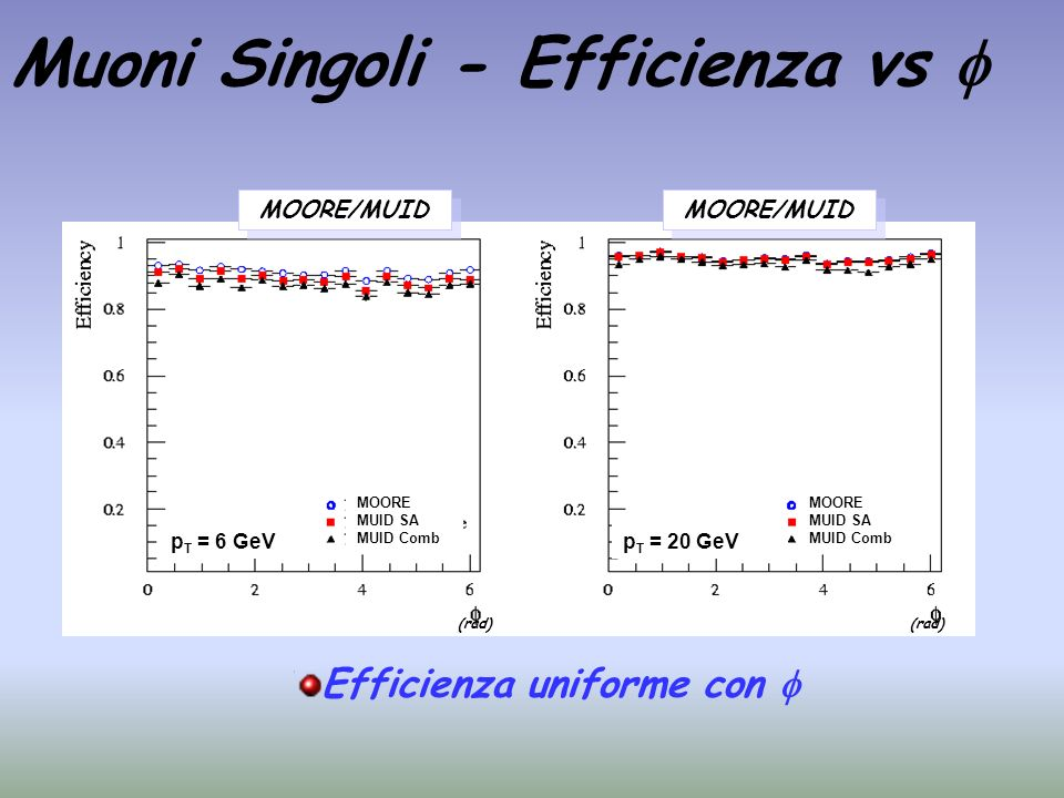 Muoni Singoli - Efficienza vs 