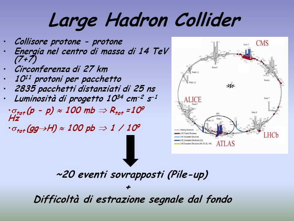Large Hadron Collider ~20 eventi sovrapposti (Pile-up) +