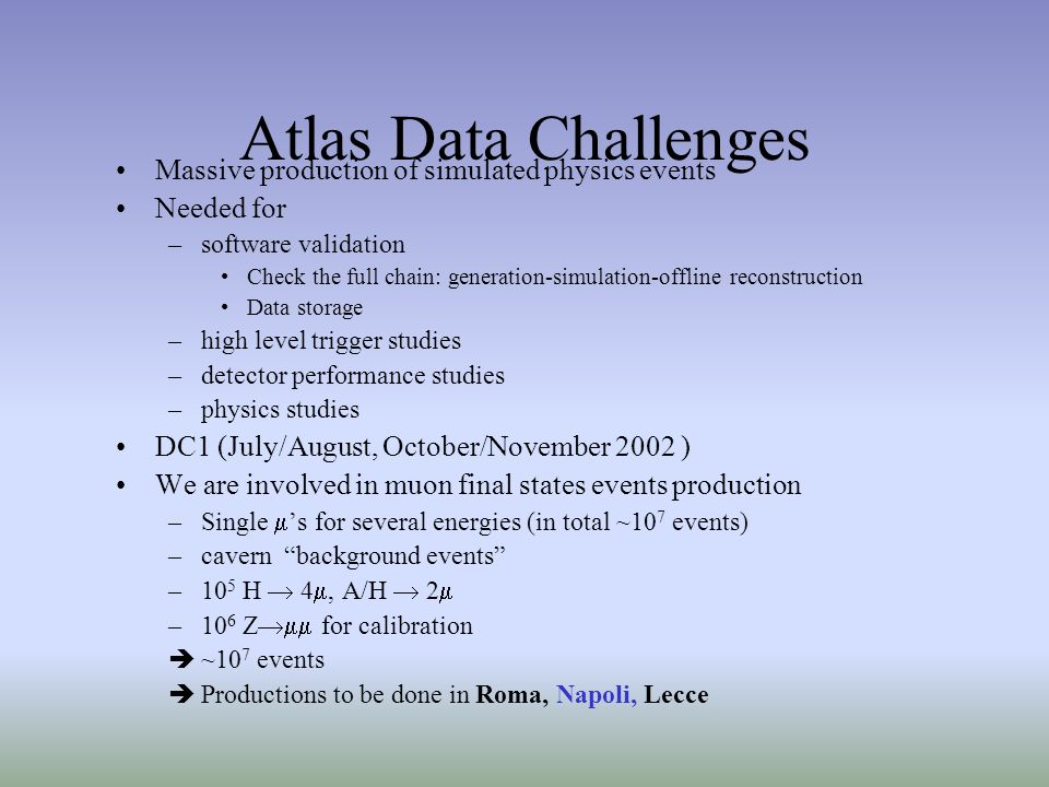 Atlas Data Challenges Massive production of simulated physics events