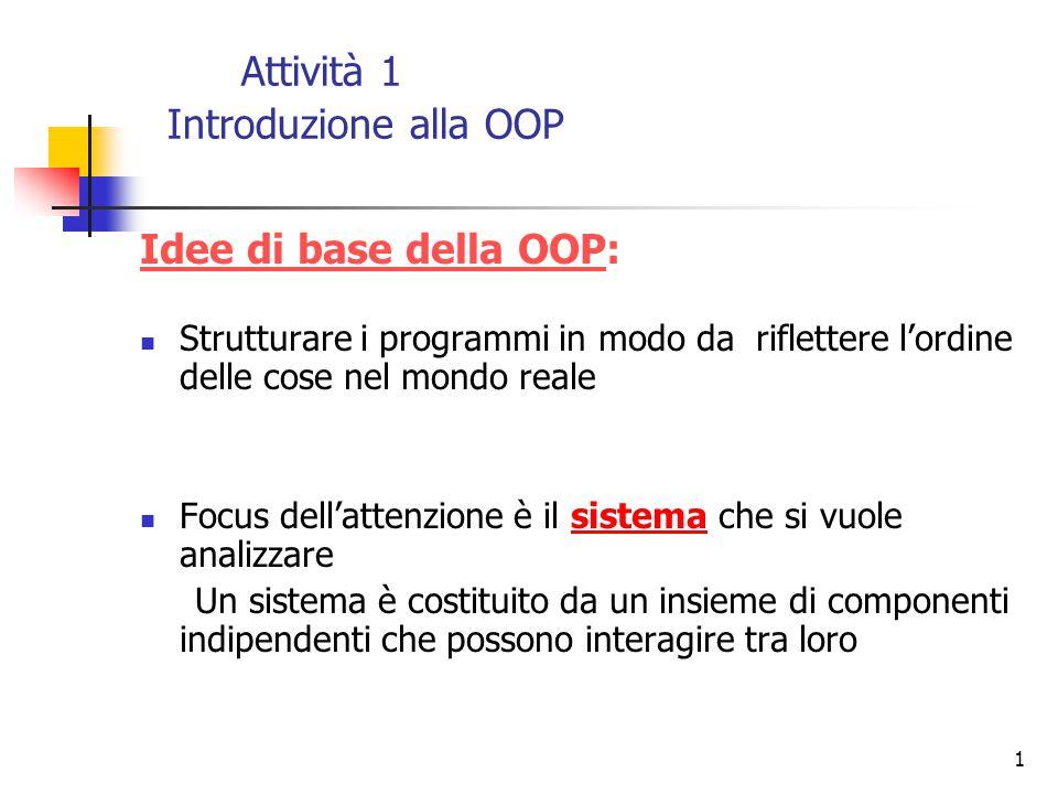 Attività 1 Introduzione alla OOP