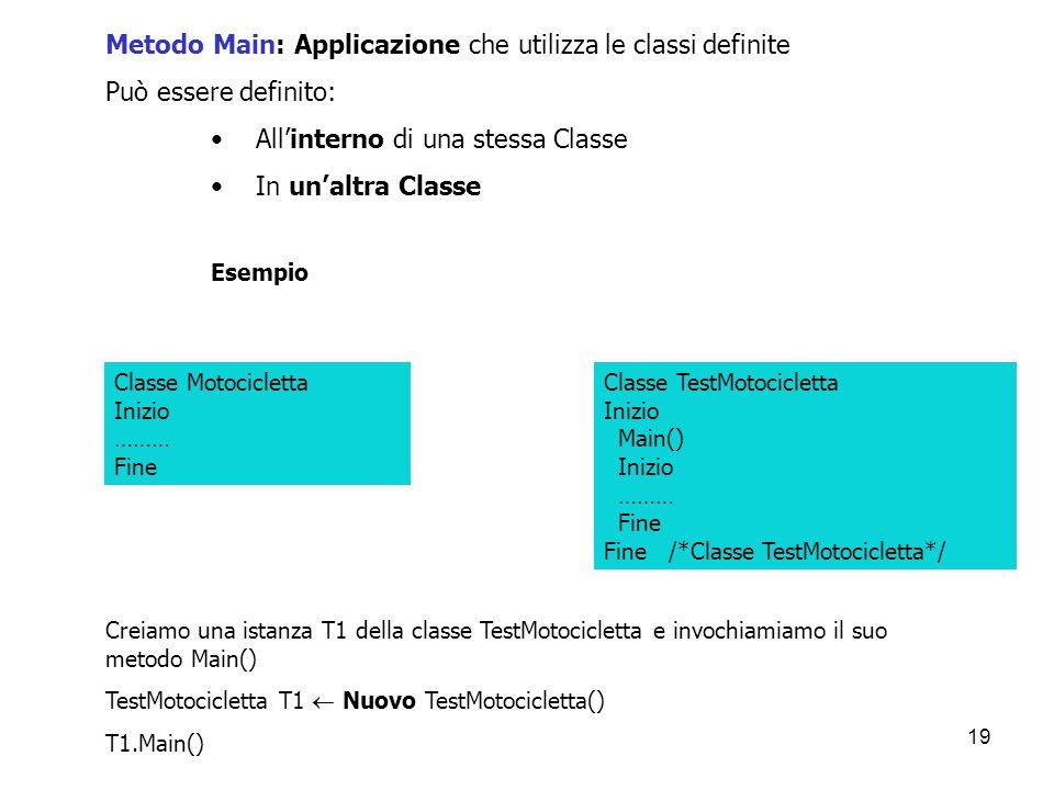 Metodo Main: Applicazione che utilizza le classi definite
