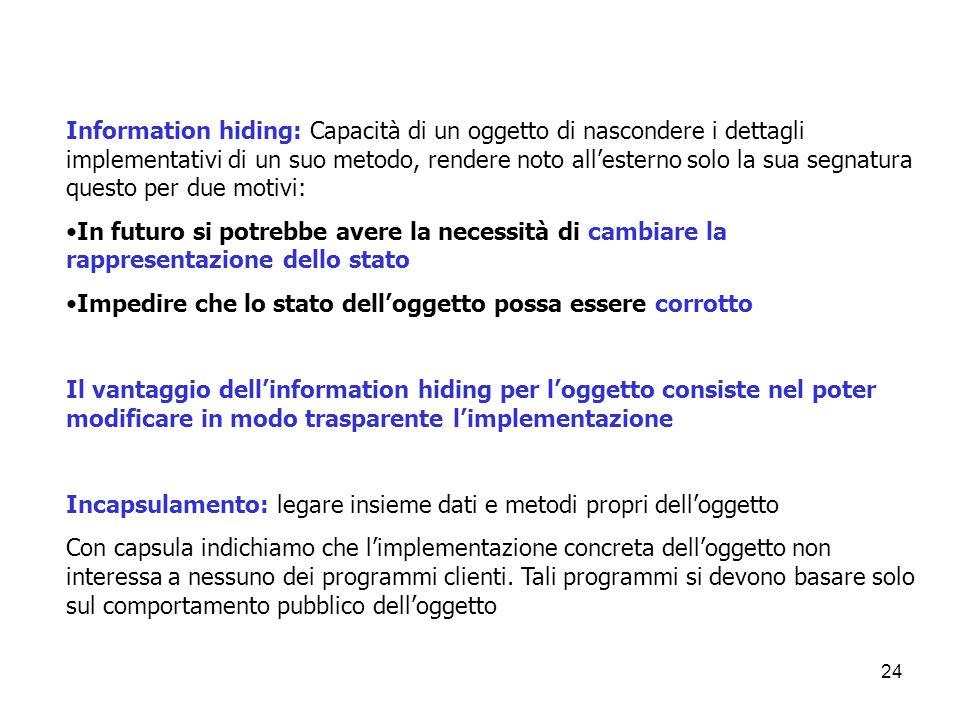 Information hiding: Capacità di un oggetto di nascondere i dettagli implementativi di un suo metodo, rendere noto all'esterno solo la sua segnatura questo per due motivi: