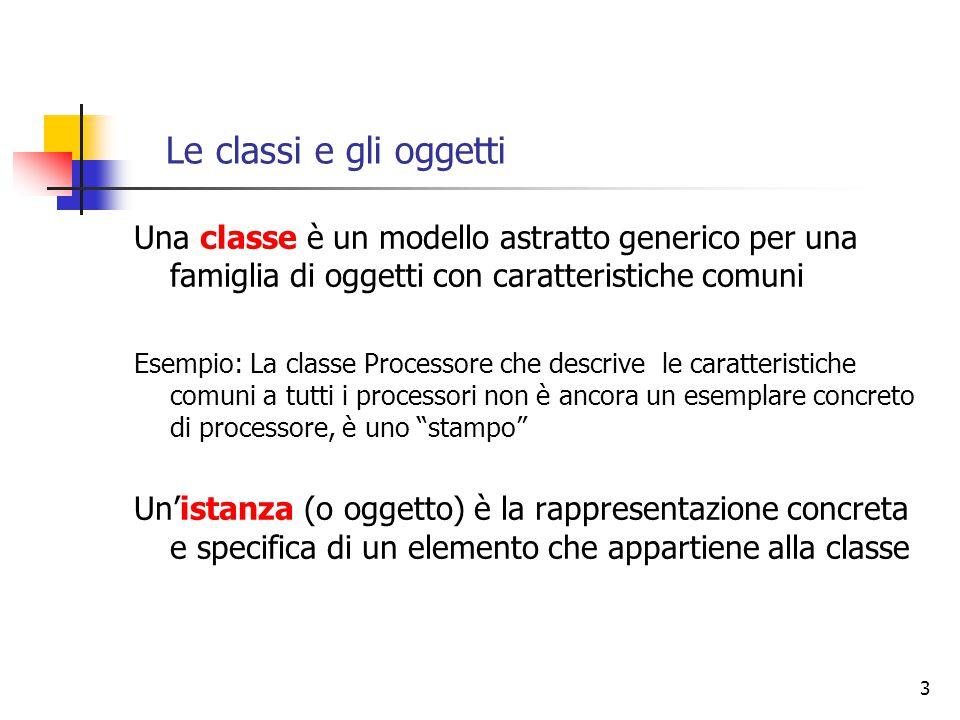 Le classi e gli oggetti Una classe è un modello astratto generico per una famiglia di oggetti con caratteristiche comuni.