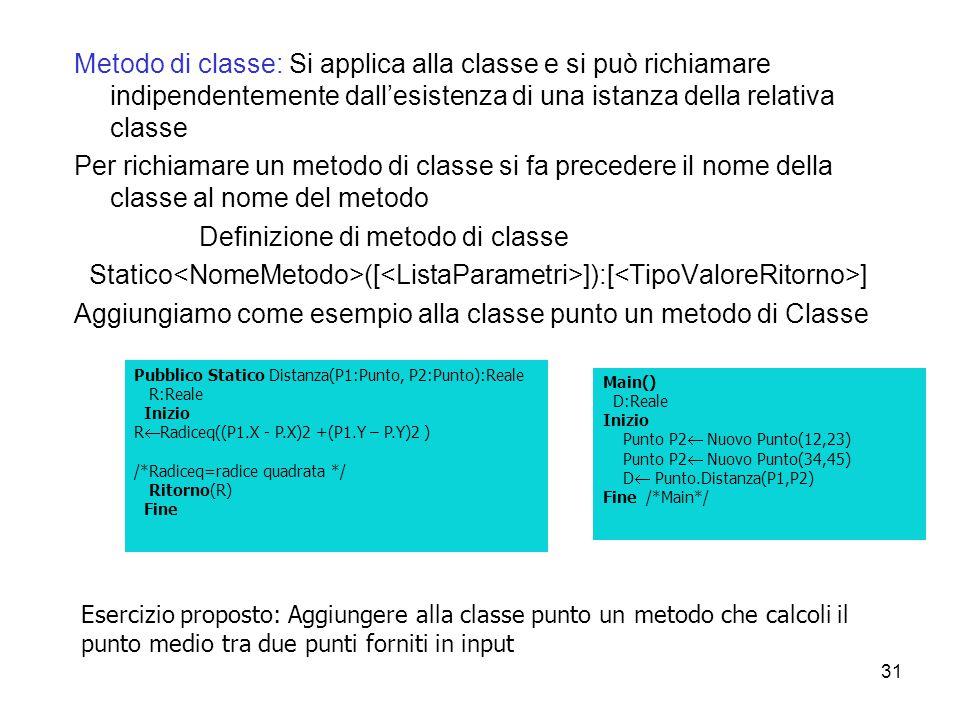 Definizione di metodo di classe