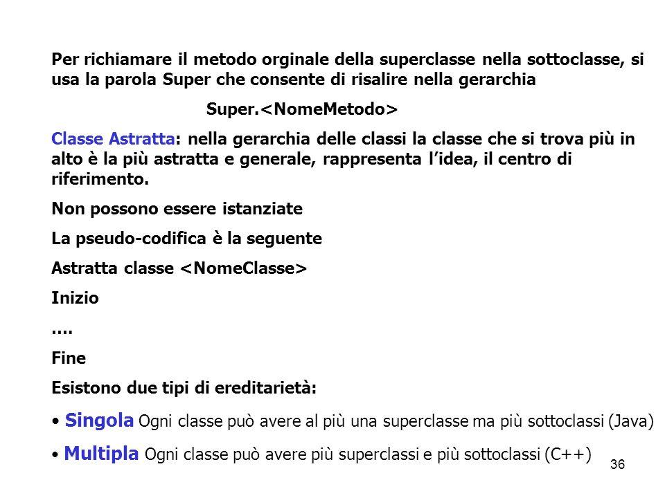 Per richiamare il metodo orginale della superclasse nella sottoclasse, si usa la parola Super che consente di risalire nella gerarchia