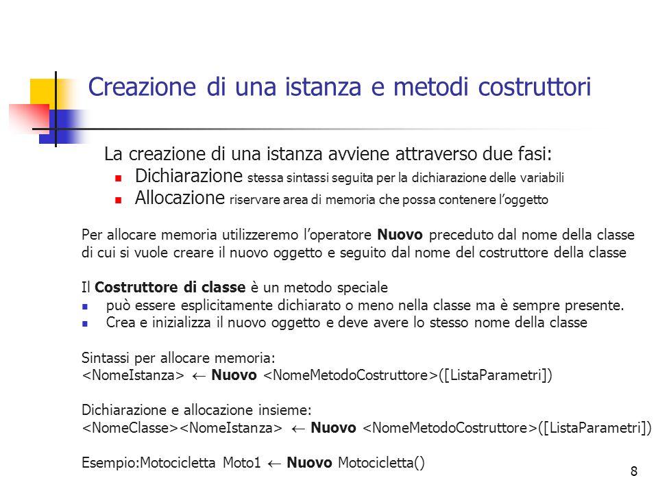 Creazione di una istanza e metodi costruttori