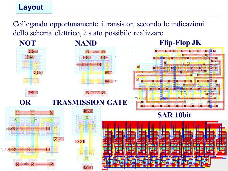 Layout Collegando opportunamente i transistor, secondo le indicazioni dello schema elettrico, è stato possibile realizzare.