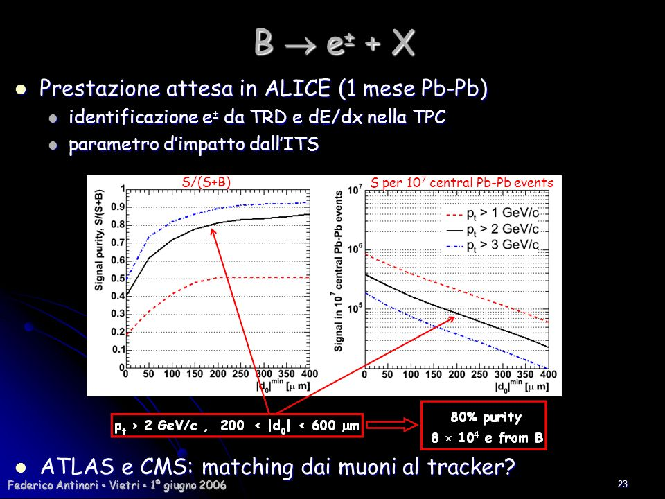 B  e± + X Prestazione attesa in ALICE (1 mese Pb-Pb)