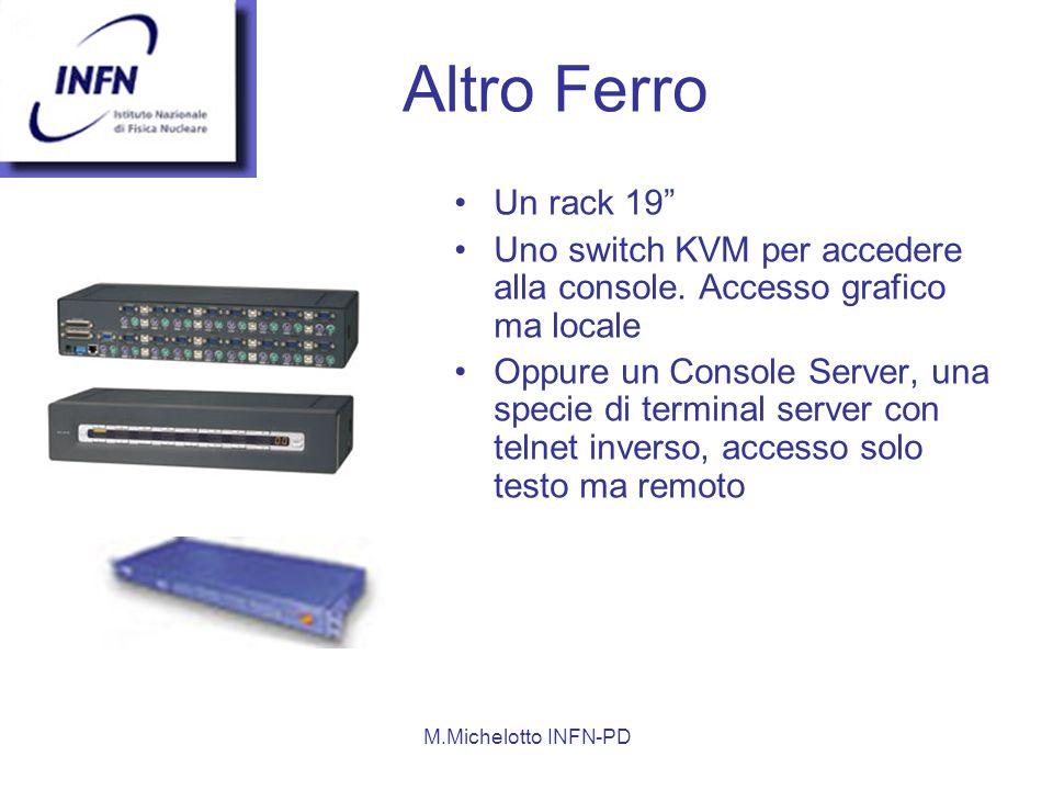 Altro Ferro Un rack 19 Uno switch KVM per accedere alla console. Accesso grafico ma locale.