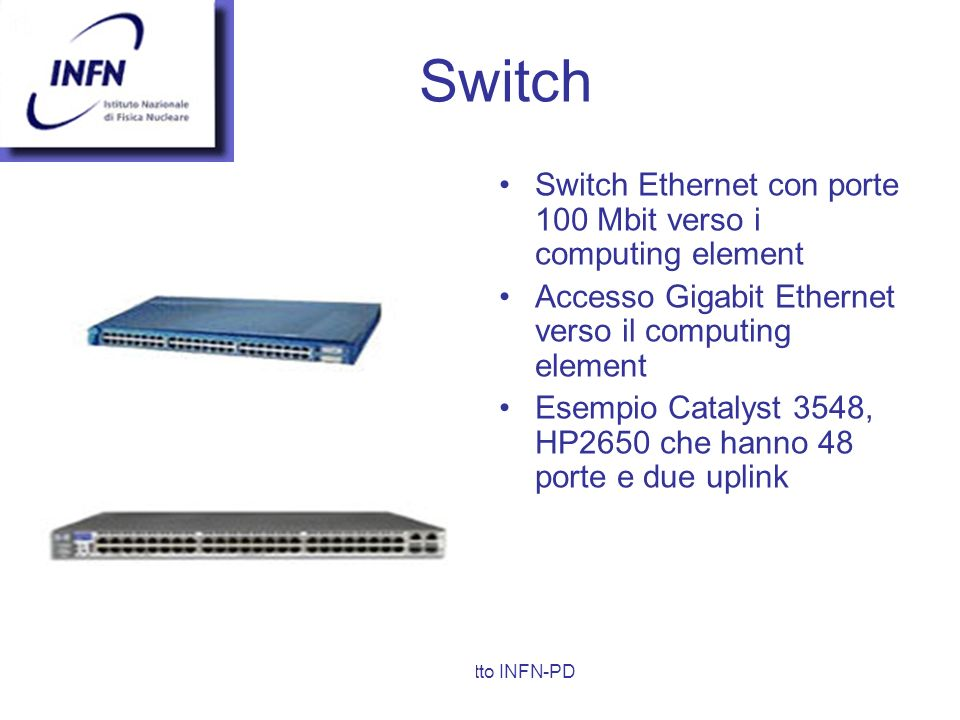 Switch Switch Ethernet con porte 100 Mbit verso i computing element