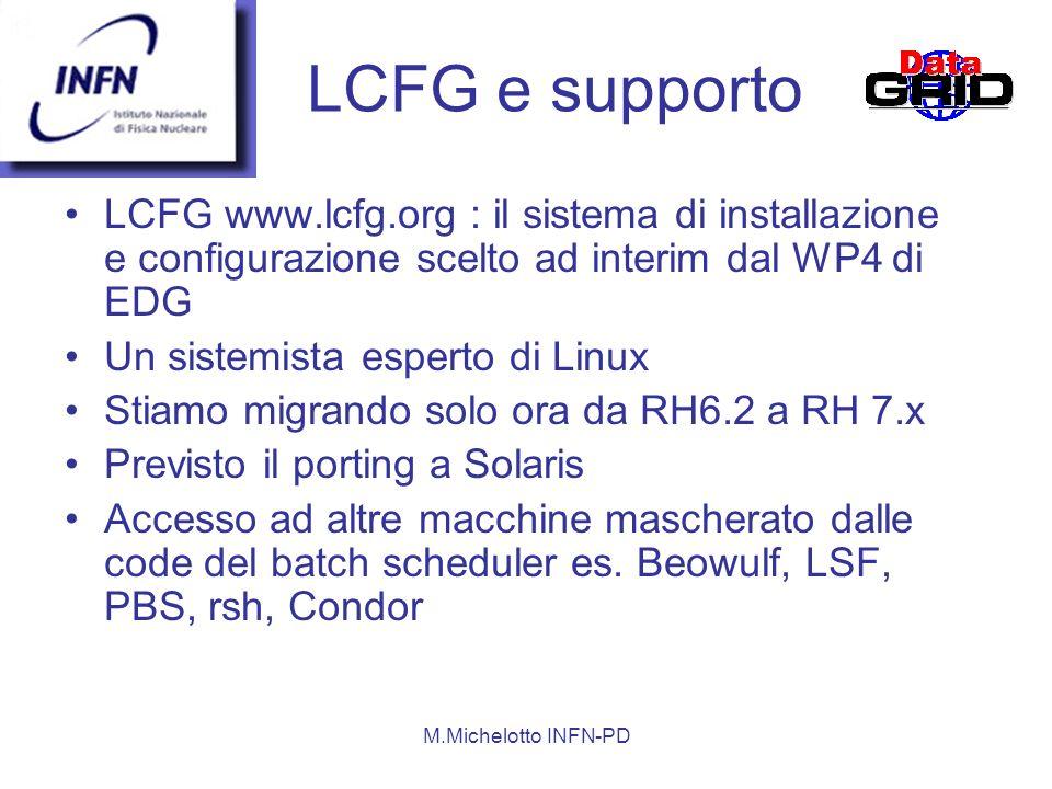 LCFG e supporto LCFG www.lcfg.org : il sistema di installazione e configurazione scelto ad interim dal WP4 di EDG.