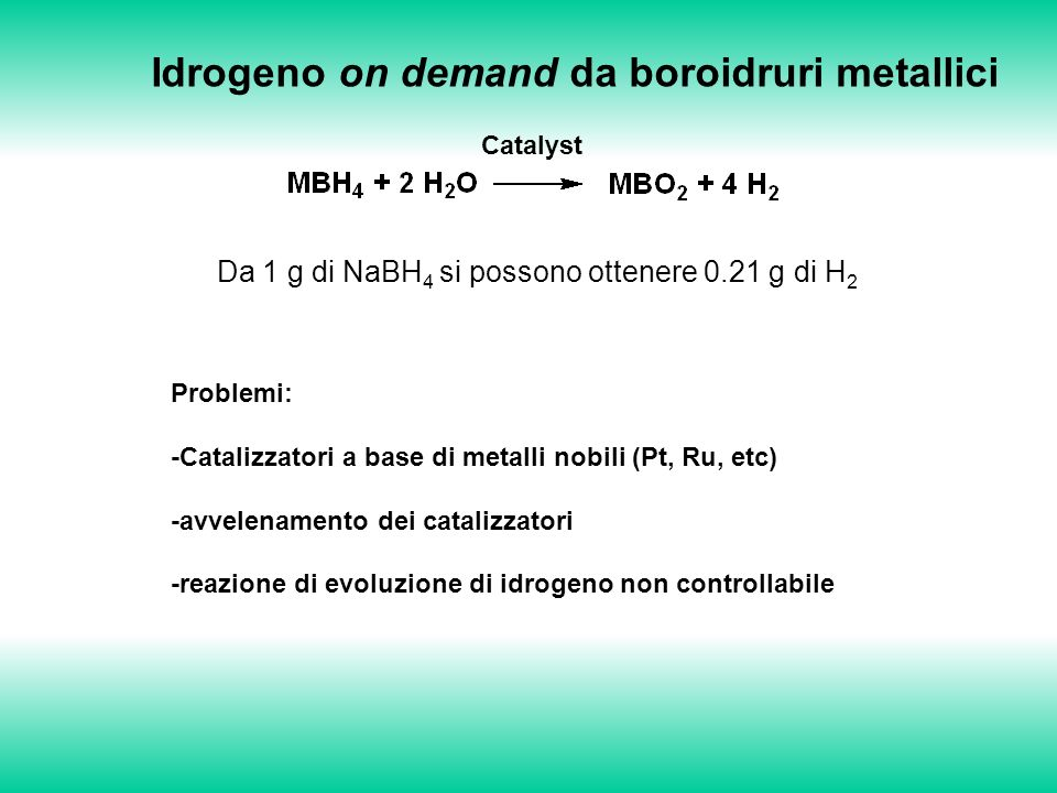 Idrogeno on demand da boroidruri metallici