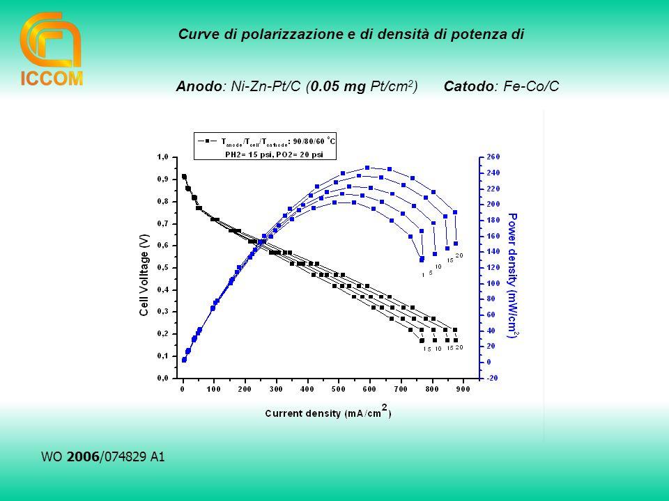 Curve di polarizzazione e di densità di potenza di