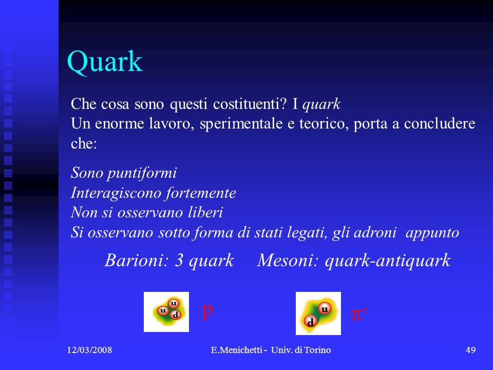 Quark p p+ Che cosa sono questi costituenti I quark