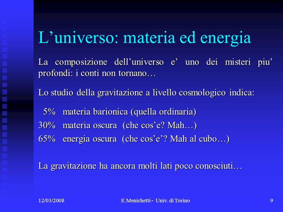 L'universo: materia ed energia