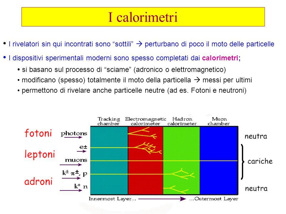 I calorimetriI rivelatori sin qui incontrati sono sottili  perturbano di poco il moto delle particelle.