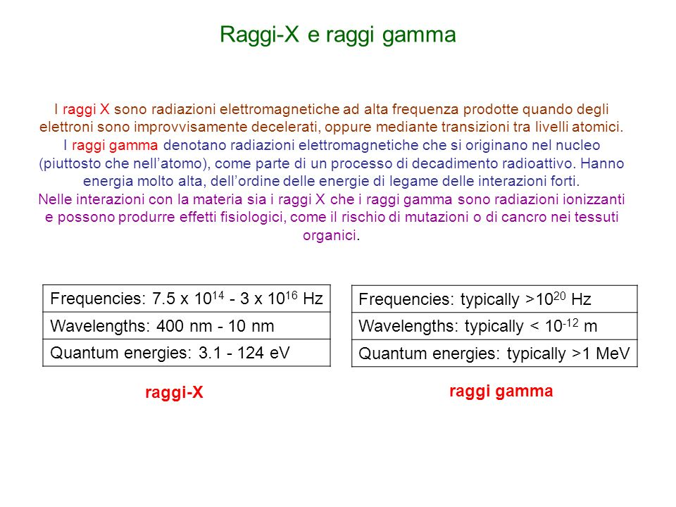 Raggi-X e raggi gamma Frequencies: 7.5 x 1014 - 3 x 1016 Hz