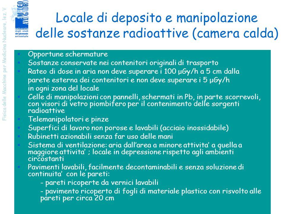 Locale di deposito e manipolazione delle sostanze radioattive (camera calda)