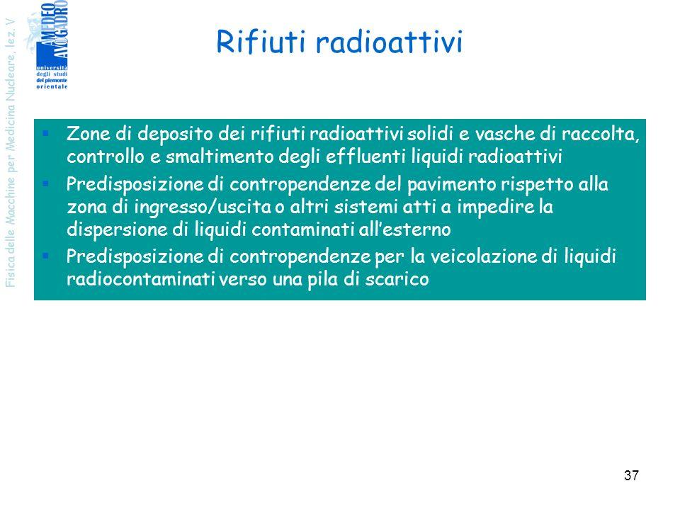 Rifiuti radioattivi Zone di deposito dei rifiuti radioattivi solidi e vasche di raccolta, controllo e smaltimento degli effluenti liquidi radioattivi.