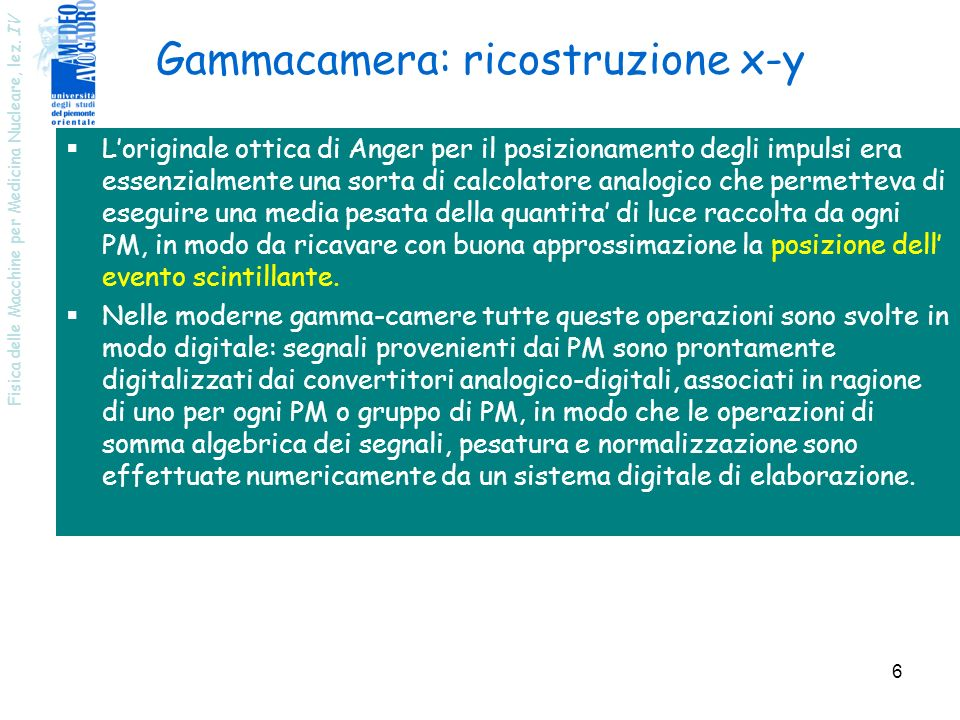 Gammacamera: ricostruzione x-y