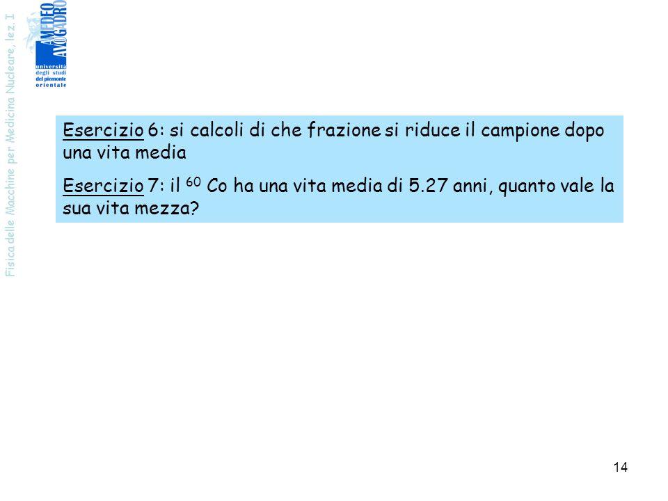Esercizio 6: si calcoli di che frazione si riduce il campione dopo una vita media