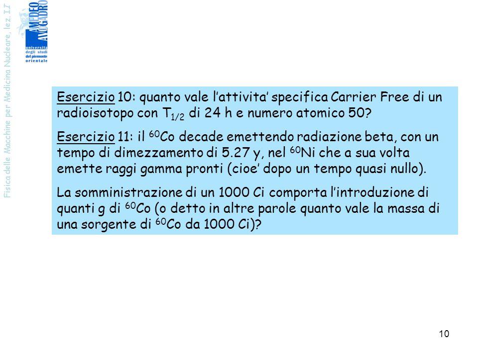 Esercizio 10: quanto vale l'attivita' specifica Carrier Free di un radioisotopo con T1/2 di 24 h e numero atomico 50