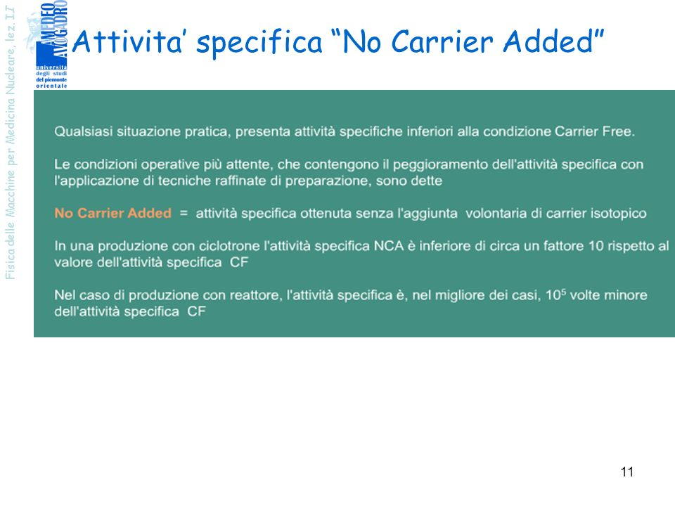 Attivita' specifica No Carrier Added