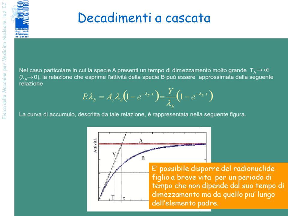 Decadimenti a cascata Fisica delle Macchine per Medicina Nucleare, lez. II.