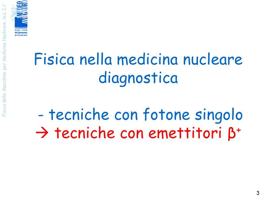 Fisica nella medicina nucleare diagnostica - tecniche con fotone singolo  tecniche con emettitori β+