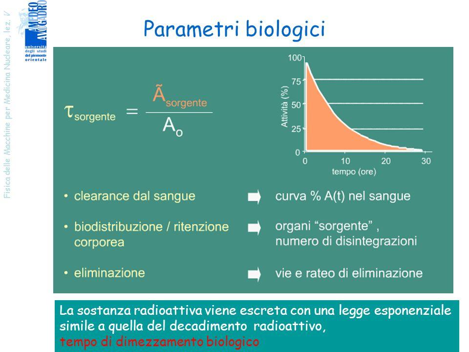 Parametri biologici Fisica delle Macchine per Medicina Nucleare, lez. V. La sostanza radioattiva viene escreta con una legge esponenziale.