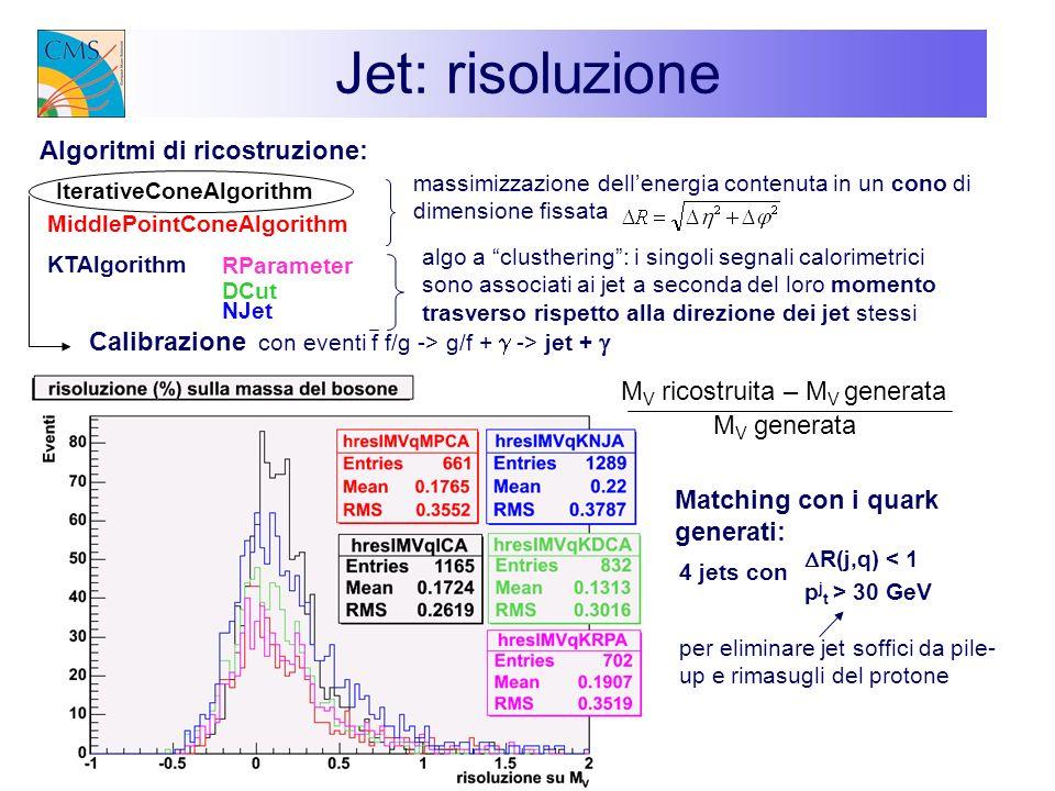 Jet: risoluzione Algoritmi di ricostruzione: