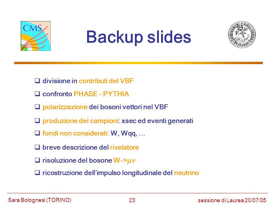 Backup slides divisione in contributi del VBF confronto PHASE - PYTHIA