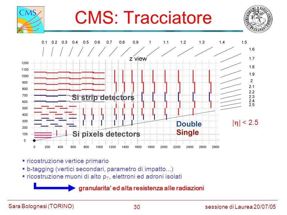 CMS: Tracciatore |h| < 2.5 ricostruzione vertice primario