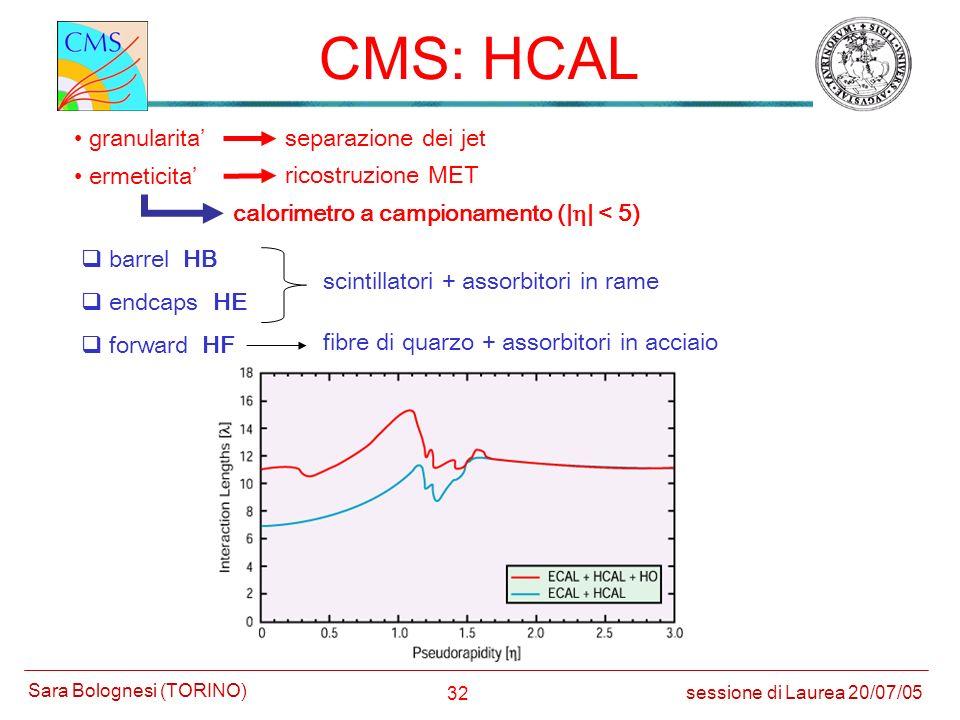 CMS: HCAL granularita' separazione dei jet ermeticita'