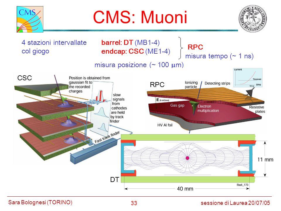 CMS: Muoni 4 stazioni intervallate col giogo barrel: DT (MB1-4) RPC
