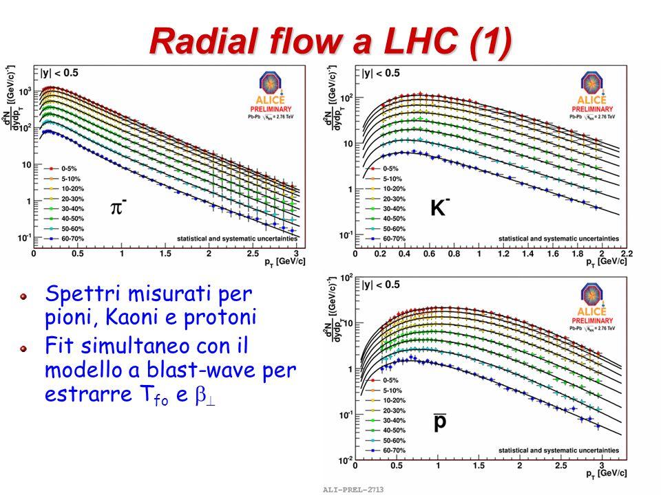 Radial flow a LHC (1) Spettri misurati per pioni, Kaoni e protoni