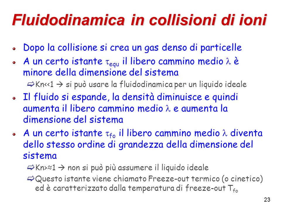 Fluidodinamica in collisioni di ioni
