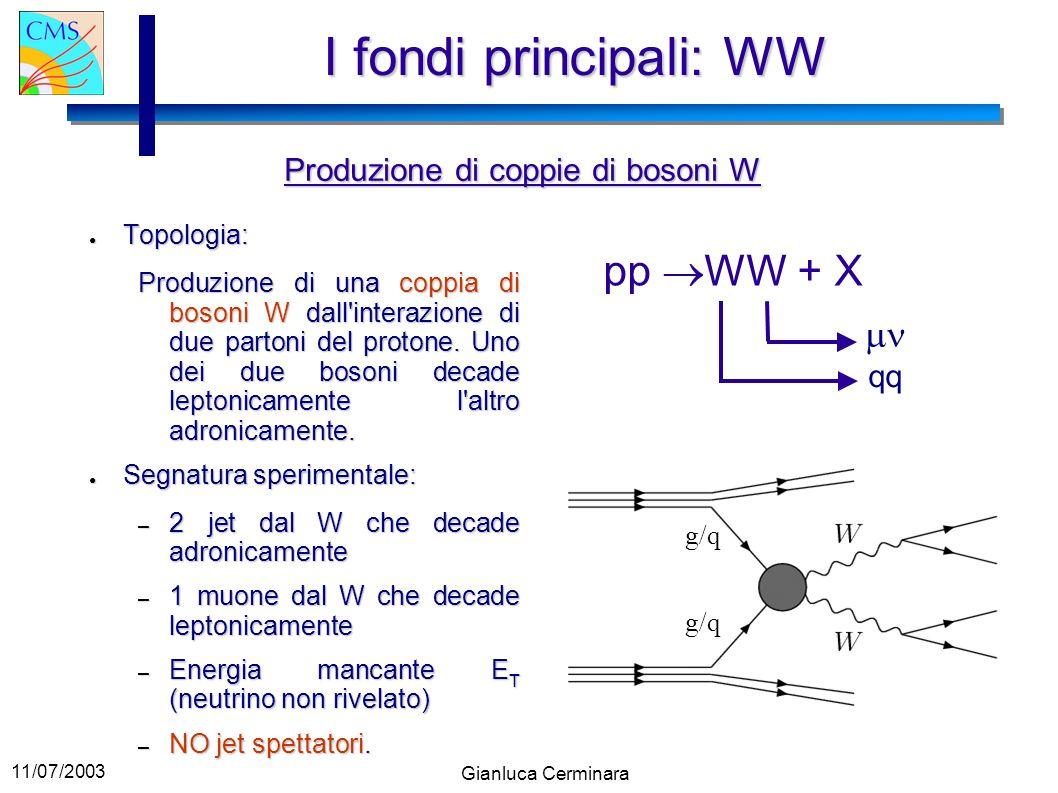 I fondi principali: WW pp WW + X mn Produzione di coppie di bosoni W