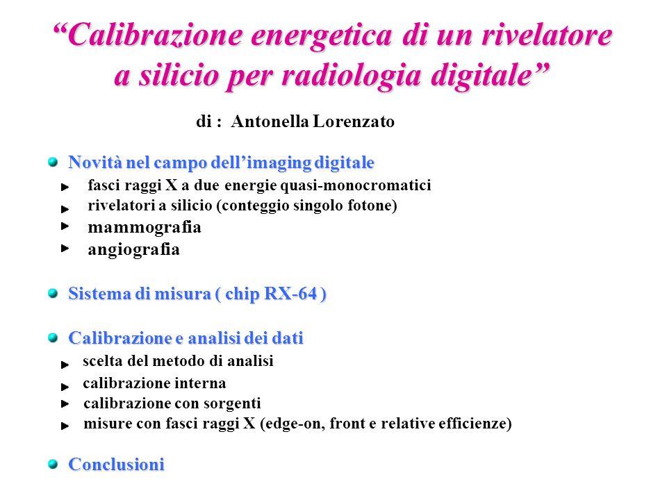 Calibrazione energetica di un rivelatore a silicio per radiologia digitale