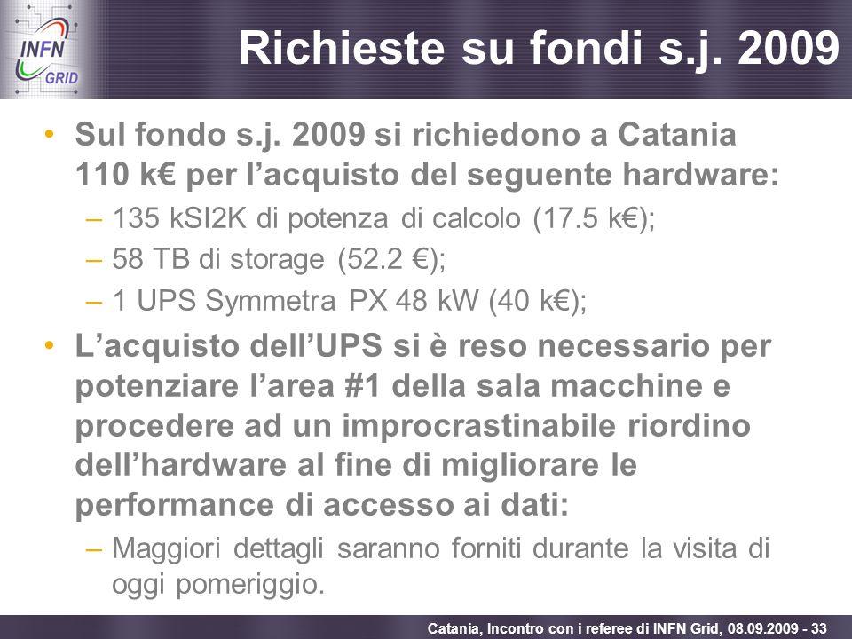 Richieste su fondi s.j. 2009Sul fondo s.j. 2009 si richiedono a Catania 110 k€ per l'acquisto del seguente hardware: