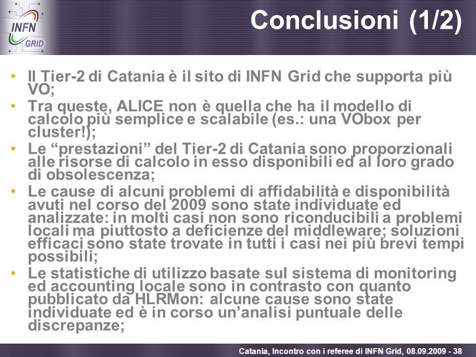 Conclusioni (1/2) Il Tier-2 di Catania è il sito di INFN Grid che supporta più VO;
