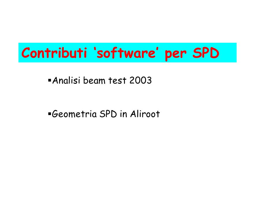 Contributi 'software' per SPD