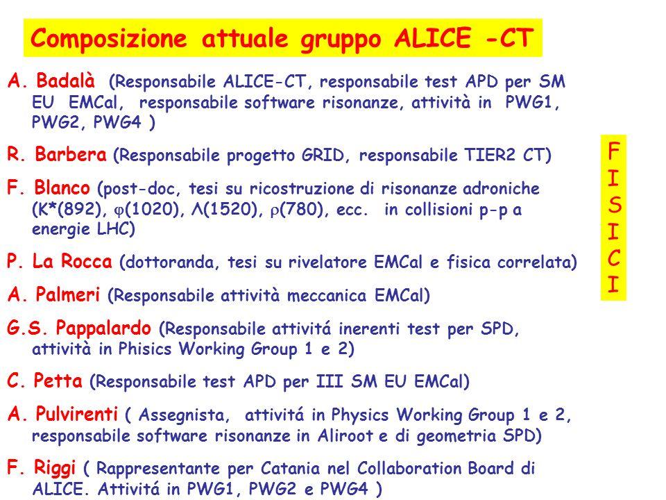 Composizione attuale gruppo ALICE -CT