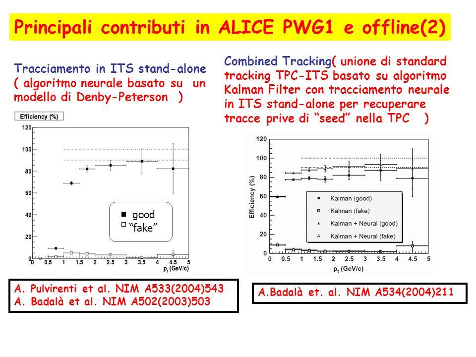 Principali contributi in ALICE PWG1 e offline(2)