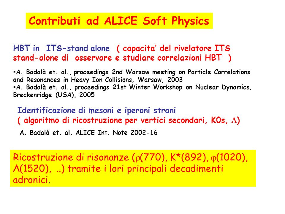 Contributi ad ALICE Soft Physics
