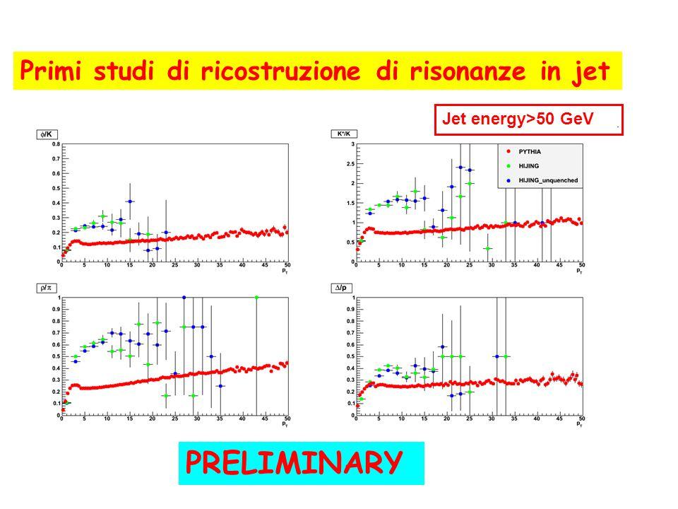 PRELIMINARY Primi studi di ricostruzione di risonanze in jet